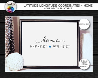 Latitude Longitude Coordinates-Home-Modern Home Decor Printable,Wall,Typography,Gift,Housewarming,Engagement,Bridal,Baby,Nursery,Christmas