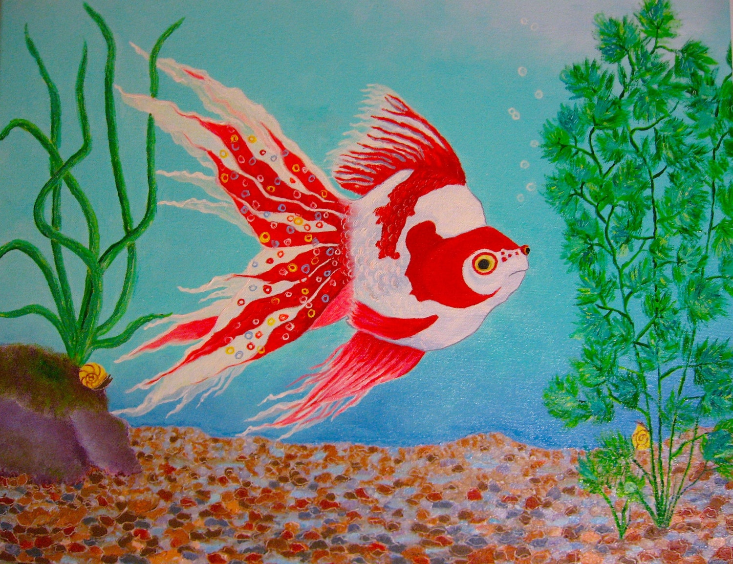 Fish Painting Tropical Fancy Goldfish Original Oil Painting