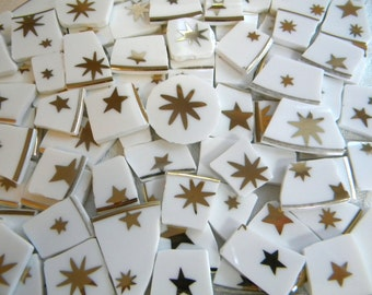GALAXY STARS - Mosaic China Tiles - Elegant Gold and White - 100 Tiles