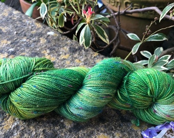 """100grms hand painted fingering weight yarn Merino /Donegal  nep """"spring leaves"""""""