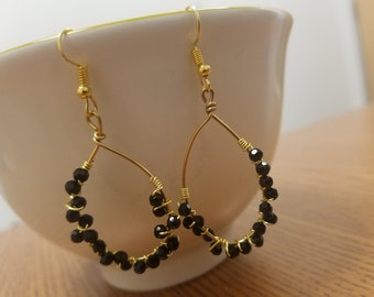 Big Elegant Night Out Wire-Wrapped Black and Gold Teardrop Hoop Dangle Earrings