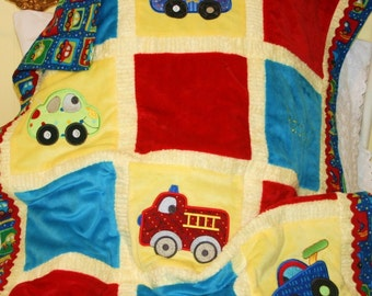 """Personalized Baby Blanket  Appliqued Minky  """"Happy Cars and Trucks"""""""