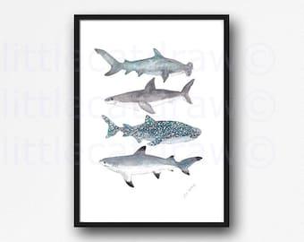Shark Print Shark Stack Watercolor Painting Print Nautical Print Bathroom Wall Decor Beach Decor Shark Wall Art Sharks Art Print