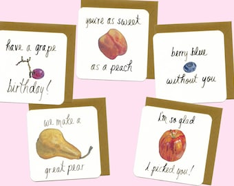 Handmade Greeting Cards - Fruit Collection - 5