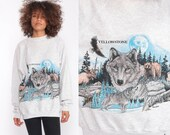Yellowstone Sweatshirt 90s Wolf Shirt Bald EAGLE Shirt Bear Moose Animal Graphic Print Jumper Slouchy 1990s Sweater Vintage Extra Large xl