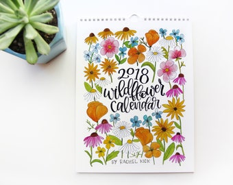 2018 Calendar - Handpainted Wildflower 2018 Wall Calendar