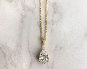 Bridal jewelry - wedding necklace - teardrop pendant - bridesmaid necklace - gold pendant - Avery necklace