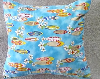 Pillow Cover, 14 x 14, Surfboard Print, Small Pillow Cover, Toss Pillow Cover, Throw Pillow Cover, Beach Theme, Free Shipping!