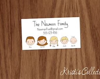 Family Calling Card Gift Inserts Enclosures Stickers, Personal Business Mommy Cards, Personalized Calling Cards, Stick Face Cards