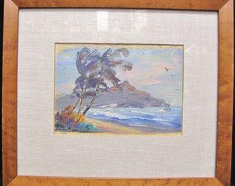 Signed Melvene Wolz Framed Oil Painting on Canvas Framed Behind Glass