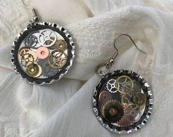 Clock Works Bottle Cap Earrings