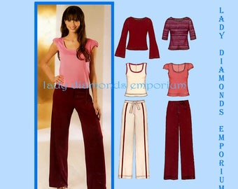 New Look 6324 Womens Easy Pullover Tops in 4 Styles & Pants Fly Front size 8 10 12 14 16 18 Petite to Plus Size Sewing Pattern Uncut FF