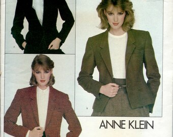 """1980's Vogue Sewing Pattern No. 2785 by Anne Klein - Fitted , Lined Jacket , Suit Jacket Bust 30 1/2"""""""