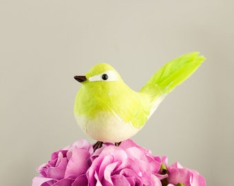 NEW ITEM! Cute Plump Chickadee Feather And Felted Mushroom Bird in Green Apple / Artificial Birds With Real Feathers / Fat Bird / Wedding