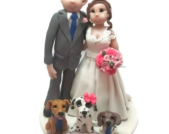 Custom wedding cake topper, Dog lovers wedding cake topper, Bride and groom cake topper, Mr and Mrs cake topper, personalized cake topper