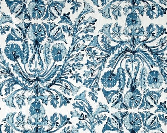 "Two  96""x 50""  Custom LINED Curtain Panels    - Lacefield Sofia Azure - Large Damask Floral Blue"