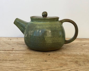 Handmade green ceramic Teapot, pottery teapot,  collectible teapot, modern teapot.
