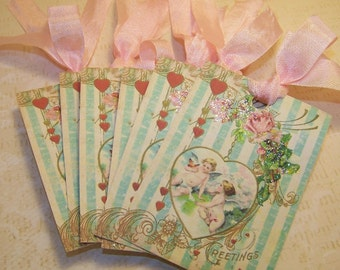 Valentine's Day Tags Shabby Vintage Cottage Chic Style Set of 6 or 9