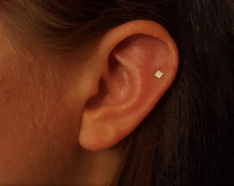 Cartilage earring Helix piercing Tiny cartilage stud Helix earring Cartilage earring stud Piercing helix stud Tiny stud earrings square