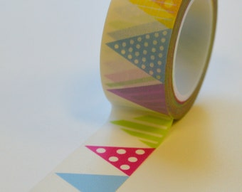 Washi Tape - 20mm - Multi Color Bunting Banner - Deco Paper Tape No. 1008