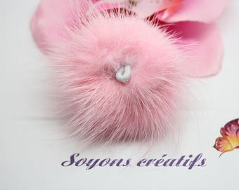 Large Pompom fur 50mm with bail-Rose - creating jewelry-