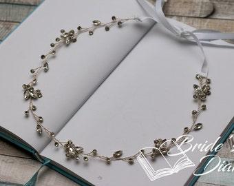 Wedding hair jewelry, rhinestones crystals bridal wreath, silver hair vine