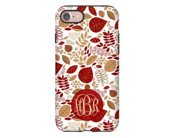 Autumn leaves iPhone 8 Plus case, leaves iPhone 87 case, fall iPhone 7 case, monogram iPhone 7 Plus case, iPhone 6s Plus/6s case/6 Plus