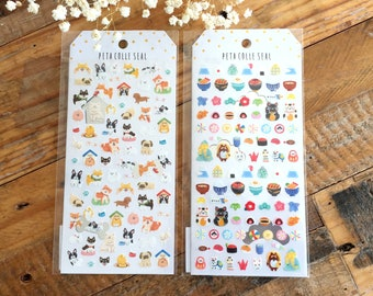 Cute sheet of Sticker - WaterColor Cute Dogs and Japan at your choice for journaling, art mailing, scrapbooking, packaging