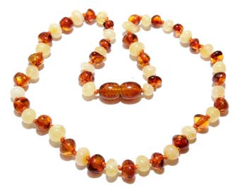Baltic Amber Baby Teething Necklace Mixed Beads 31 - 33 cm Genuine Amber Teething Necklace, Natural Healing Amber Necklace