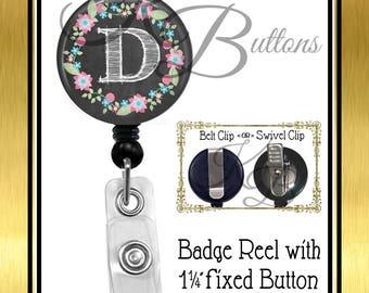 Teacher Badge Reel, Chalkboard Initial Badge Reel, Custom Badge Reel, Retractable Badge Reel, Custom School Badge Reel, BRT001