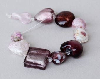 Lampwork Bead Set #2 - Purple Glass Beads - Amethyst Glass Beads - Jewelry Making - Beading