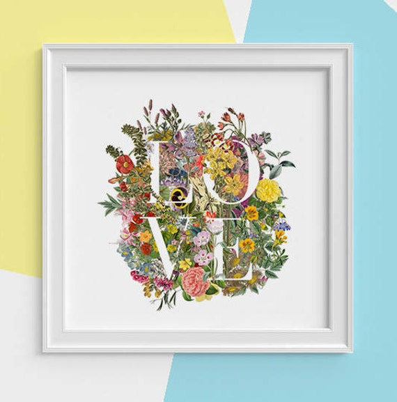 LOVE wall art Typography and wild flowers Print Spring celebration print New home gift art print, Girlfriend gift TVH248SQ1