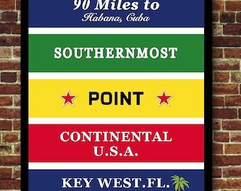Florida Key West Cuba travel art print poster USA