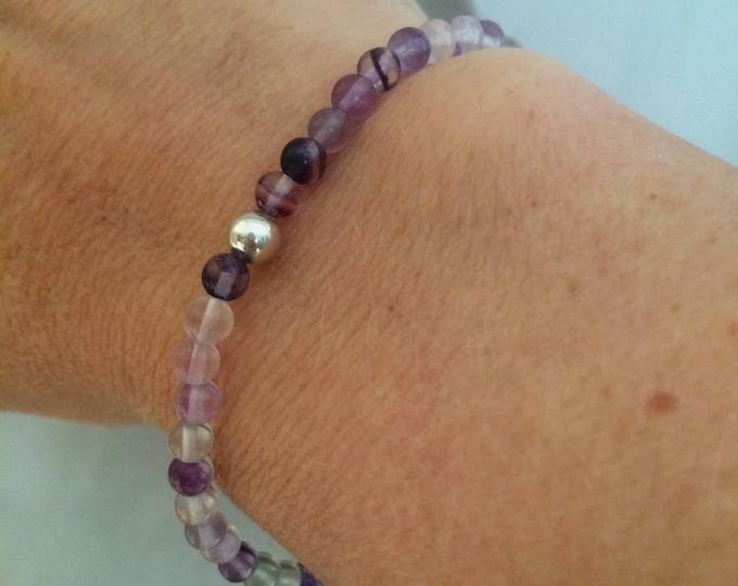4mm tiny Fluorite stretch Bracelet Sterling Silver bead Chakra healing yoga jewellery
