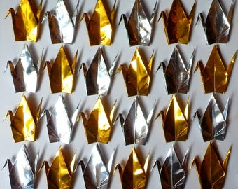 100 Large Origami Cranes Origami Paper Cranes - Made of 15cm 6 inches Japanese Foil Paper - Gold Silver