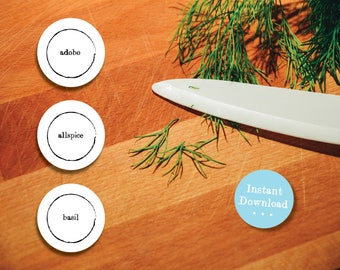 Editable PDF Spice Labels - Printable Spice Jar Labels - Simple Zen Black Spice Jar Labels - Round Spice Labels - Editable Home Organizing