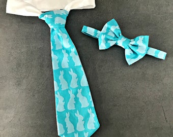Easter Bunny Bow Tie - Toddler Easter Neck Tie - Blue Easter Bunny - Boy Easter Photo Prop -  Babys 1st Easter Outfit - Easter Bunny Bow Tie