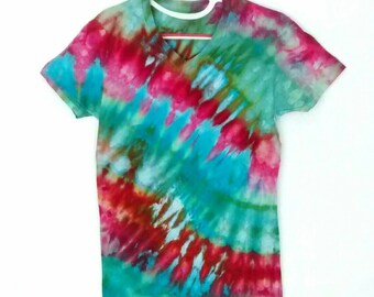 Green Pink Aqua Ice Dyed Tee Shirt men's size Small