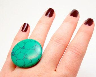Malachite Web - Spearmint Green Stone Ring