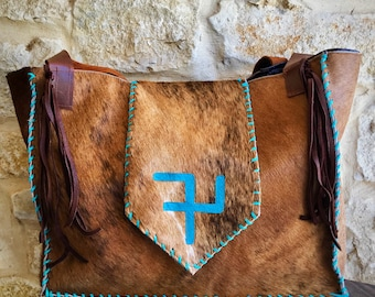 custom livestock brand cowhide diaper bag or large purse