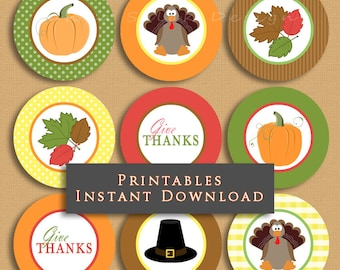 Thanksgiving Printable Cupcake Toppers Party Decor Party Gift Tags DIY INSTANT DOWNLOAD