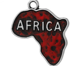 4 Red Enamel Africa Map Charms Pendants, Antique Silver Charms,  25mmx22mm, che0512
