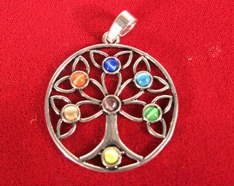 """1pc """"rainbow tree"""" pendant in silver style (BC1383)"""