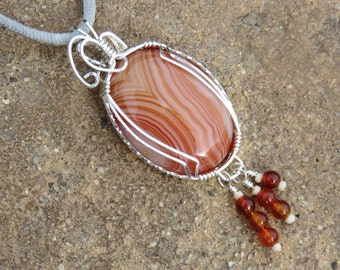S-96 Carnelian Silver Wirewrapped Pendant Necklace, Carnelian Pendant, Carnelian Necklace, Gemstone Necklace, Gemstone Pendant
