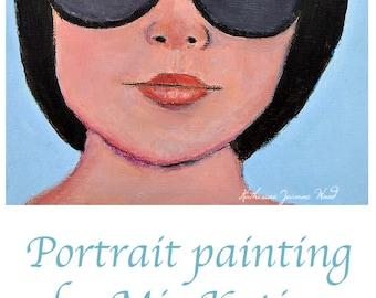 Oil Portrait Painting. Woman Wearing Dark Sunglasses. Original Small Art. Apartment Wall Art Decor.