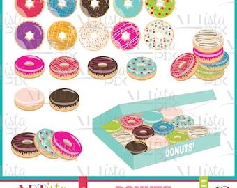 Donut Clipart, Baked, Instant Download, Donut digital Images, Food Clipart
