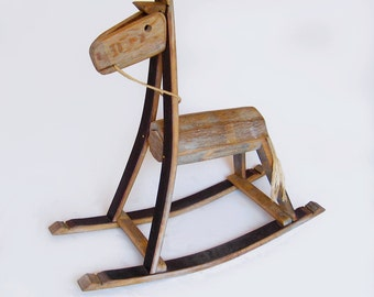 The Rocking Green Horse, recycled oak wine barrel staves, one of a kind piece