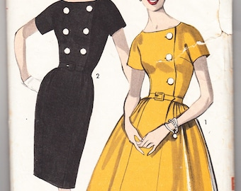Vintage 1962 Advance 2958 Sewing Pattern Misses' Dress with Two Skirts Size 12 Bust 32