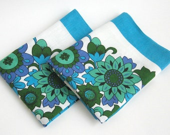 Vintage Modern Linen Floral Flower Tea Towels / Kitchen Dish Hand Towels / Mod Blue Green Purple / Marks & Spencer