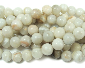 White Crazy Lace Agate Round Gemstone Beads
